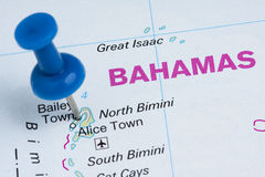 Pushpin Bahamas Map Destination Vacation Stock Photos