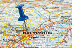 Pushpin in Baltimore Maryland USA Map. Baltimore Maryland USA Charm City highlighted with a blue push pin on an atlas or map Stock Photography