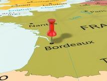 Pushpin on Bordeaux map Royalty Free Stock Photo