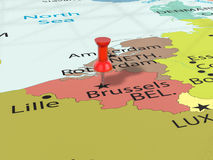 Pushpin on Brussels map Stock Image