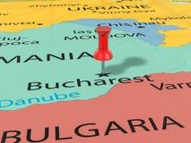 Pushpin on Bucharest map Royalty Free Stock Photography