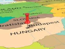 Pushpin on Budapest map Stock Photo