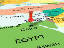 Pushpin on Cairo map Stock Photo