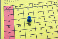 Pushpin on calendar Royalty Free Stock Photos