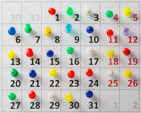 Pushpin in calendar Royalty Free Stock Images