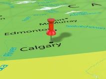 Pushpin on Calgary map Stock Image