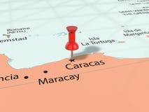 Pushpin on Caracas map Royalty Free Stock Photo