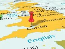 Pushpin on Cardiff map Stock Photos