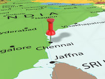 Pushpin on Chennai map Royalty Free Stock Images