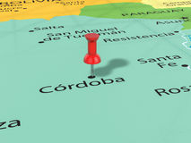 Pushpin on Cordoba map Royalty Free Stock Photography