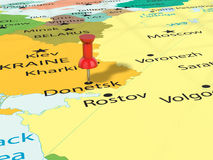Pushpin on Donetsk map Royalty Free Stock Photos