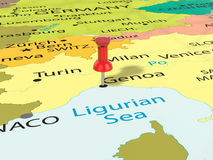 Pushpin on Genoa map Royalty Free Stock Image