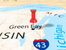 Pushpin on Green bay map. Background. 3d illustration Stock Image