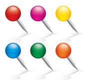 Pushpin icons. Pins set. Isolated on white. Royalty Free Stock Photography