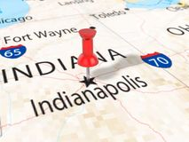 Pushpin on Indianapolis map. Background. 3d illustration Stock Images