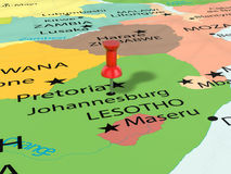 Pushpin on Johannesburg map Royalty Free Stock Image