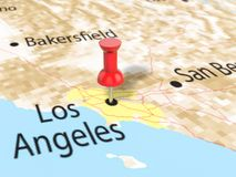 Pushpin on Los Angeles map. Background. 3d illustration Stock Photography