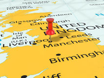 Pushpin on Manchester map Royalty Free Stock Images