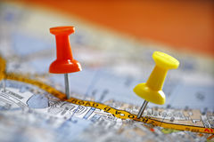 Pushpin on map. Travel destination concept thumbtack in map location Royalty Free Stock Photos