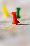 Pushpin on Map Stock Photography