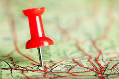 Pushpin on map stock images