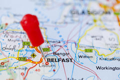 Pushpin in map of Belfast, Northern Ireland. Stock Photo