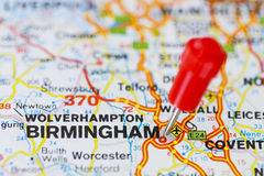 Pushpin in map of Birmingham, England Royalty Free Stock Images