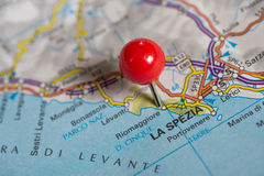 Pushpin on the map Royalty Free Stock Photo