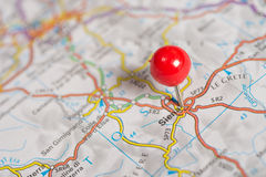 Pushpin on the map Stock Image