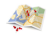 Pushpin on map concept   3d illustration Stock Photos