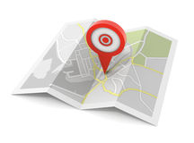 Pushpin on map concept  3d illustration Royalty Free Stock Photo