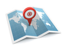 Pushpin on map Royalty Free Stock Image