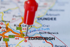 Pushpin in map of Edinburgh, Scotland Royalty Free Stock Photography