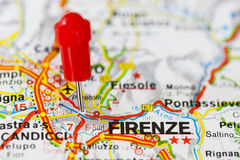 Pushpin in map of Florence, Italy Stock Image