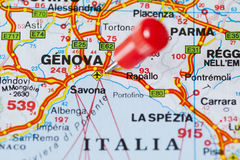 Pushpin in map of Genova, Italy Stock Images