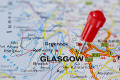 Pushpin in map of Glasgow, Scotland Royalty Free Stock Photography