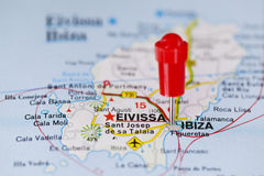 Pushpin in map of Ibiza, Spain Stock Photos