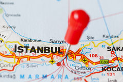 Pushpin in map of Istanbul, Turkey Royalty Free Stock Image
