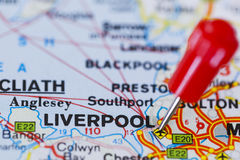 Pushpin in map of Liverpool, England. Royalty Free Stock Image