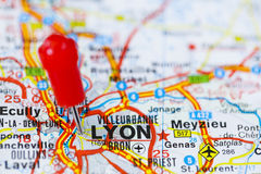 Pushpin in map of Lyon, France. Royalty Free Stock Photos