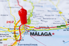 Pushpin in map of Malaga, Spain Royalty Free Stock Photography