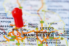 Pushpin in map of Manchester, England. Royalty Free Stock Images
