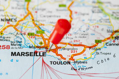 Pushpin in map of Marseille, France Royalty Free Stock Photo