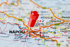 Pushpin in map of Napoli, Italy Stock Images