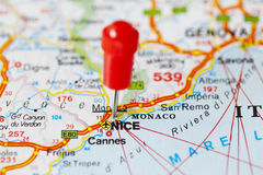 Pushpin in map of Nice, France Stock Image