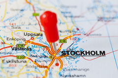 Pushpin in map of Stockholm, Sweden Stock Photography