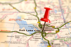 Pushpin on map Stock Image
