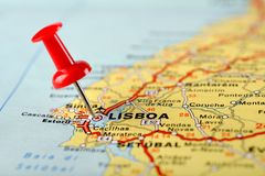 Pushpin on map. Pushpin on a tourist map for travelling Stock Photo