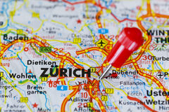 Pushpin in map of Zurich, Switzerland Royalty Free Stock Images
