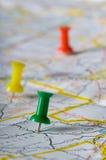 pushpin mapy. Zdjęcia Stock